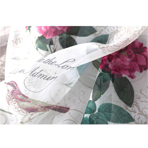 Misty Meadow Rose And Bird Ivory Sheer Voile Curtain 5