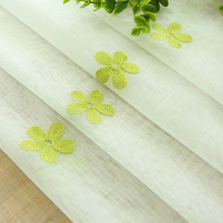 Sheer Curtain Touch Of Grace Embroidered Lime Green Flower Voile Curtain 7