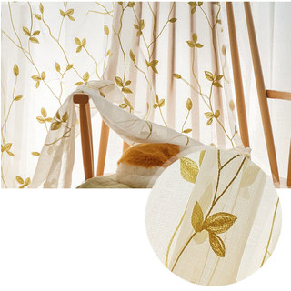 Love Fantasy Chartreuse Green Leaf Voile Curtain 1