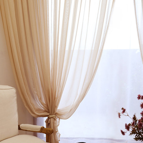 Smarties Sand Beige Soft Sheer Voile Curtain 3