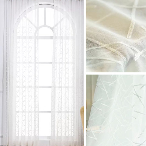 Sheer Curtain Simplicity Embroidered White Voile Curtain 5