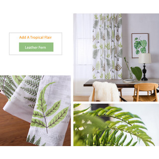 Lush Ferns Green Linen Voile Curtains 6