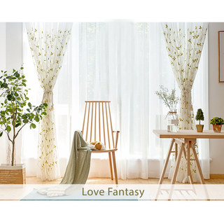 Love Fantasy Chartreuse Green Leaf Voile Curtain 2