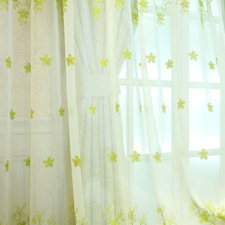 Sheer Curtain Touch Of Grace Embroidered Lime Green Flower Voile Curtain 5