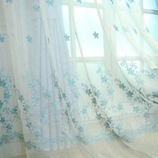 Sheer Curtain Touch Of Grace Embroidered Blue Flower Voile Curtain 3