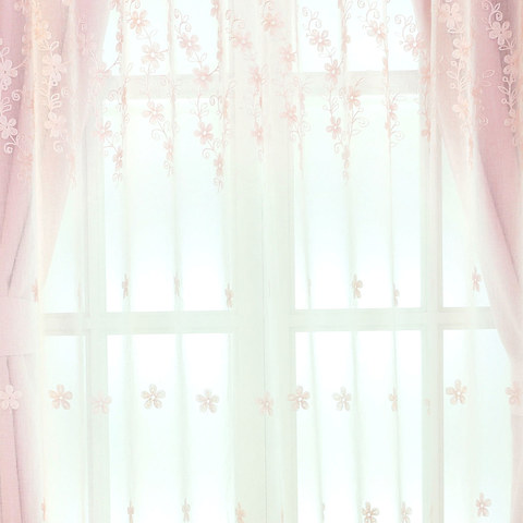 Touch Of Grace Embroidered Blush Pink Flower Voile Curtain 5