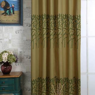 Trees of the Four Seasons Yellow Olive Green Curtain 5