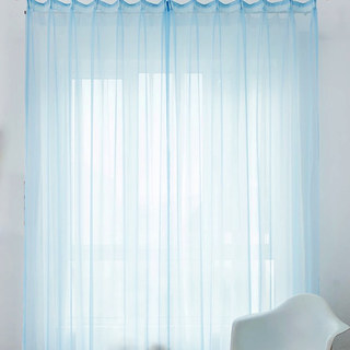 Smarties Baby Blue Soft Sheer Voile Curtain 4