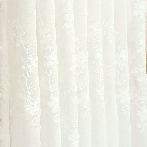Touch Of Grace Embroidered White Flower Voile Curtain 5