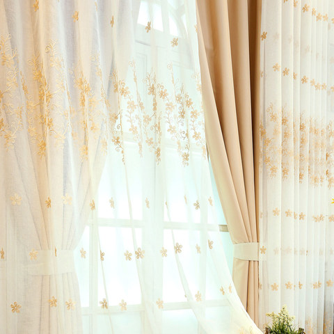 Sheer Curtain Touch Of Grace Embroidered beige Flower Voile Curtain 3