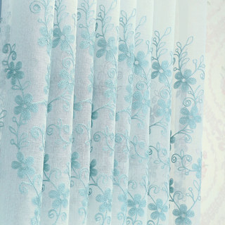 Sheer Curtain Touch Of Grace Embroidered Blue Flower Voile Curtain 5