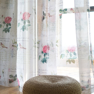 Misty Meadow Rose And Bird Ivory Sheer Voile Curtain 1