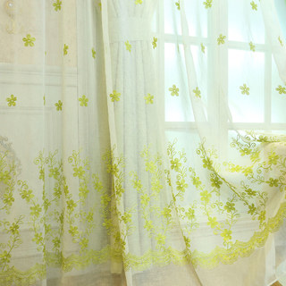 Sheer Curtain Touch Of Grace Embroidered Lime Green Flower Voile Curtain 4