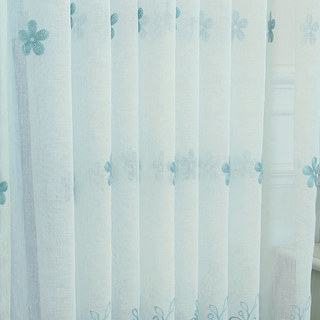 Sheer Curtain Touch Of Grace Embroidered Blue Flower Voile Curtain 6