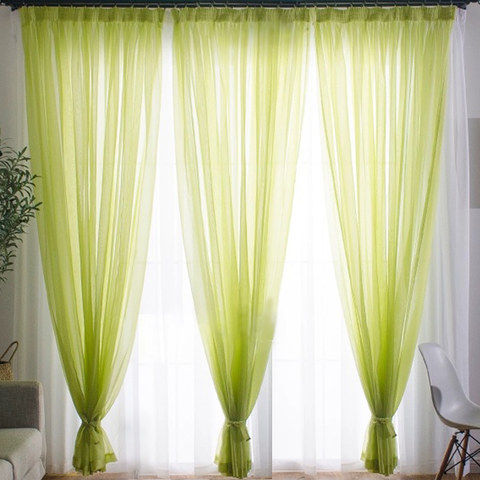 Smarties Lime Green Soft Sheer Voile Curtain 1