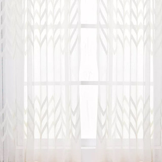 Wave Some Magic White Wave Geometric Voile Curtain 3