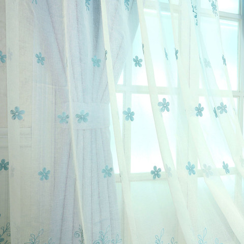 Sheer Curtain Touch Of Grace Embroidered Blue Flower Voile Curtain 4