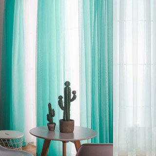 Smarties Turquoise Green Soft Sheer Voile Curtain 1