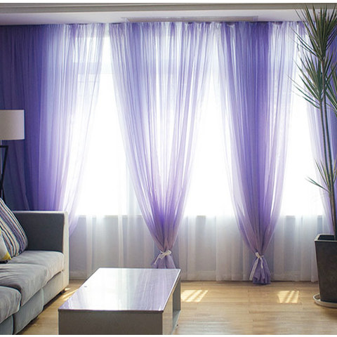 Smarties Lilac Soft Sheer Voile Curtain 1