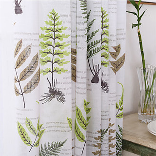 Lush Ferns Green Linen Voile Curtains 4
