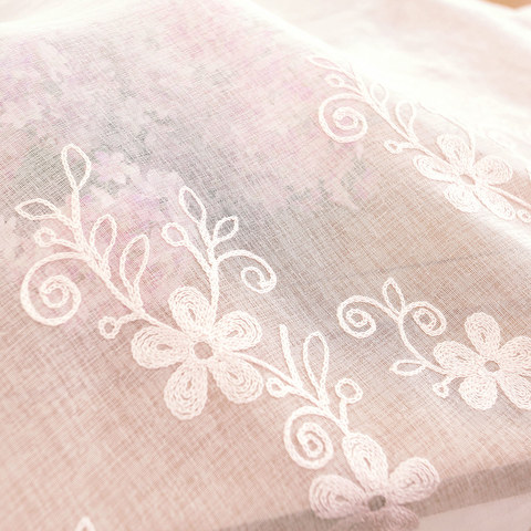 Touch Of Grace Embroidered Blush Pink Flower Voile Curtain 4