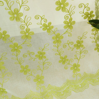 Sheer Curtain Touch Of Grace Embroidered Lime Green Flower Voile Curtain 2