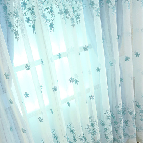 Sheer Curtain Touch Of Grace Embroidered Blue Flower Voile Curtain 1