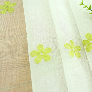 Sheer Curtain Touch Of Grace Embroidered Lime Green Flower Voile Curtain 8