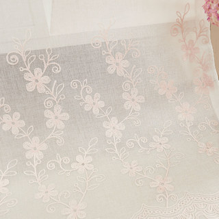 Touch Of Grace Embroidered Blush Pink Flower Voile Curtain 1