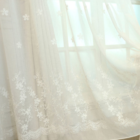 Touch Of Grace Embroidered White Flower Voile Curtain 1