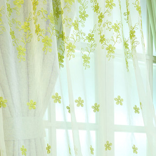 Sheer Curtain Touch Of Grace Embroidered Lime Green Flower Voile Curtain 1