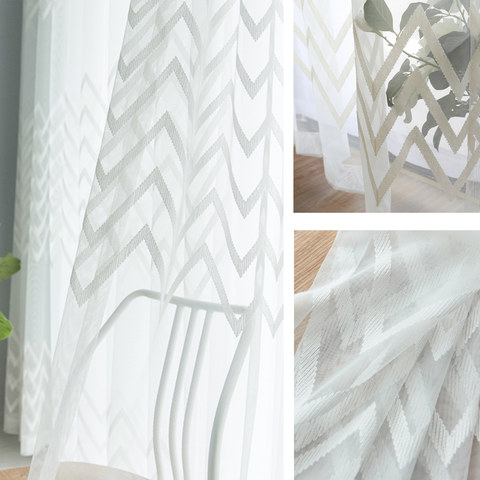 Wave Some Magic White Wave Geometric Voile Curtain 5
