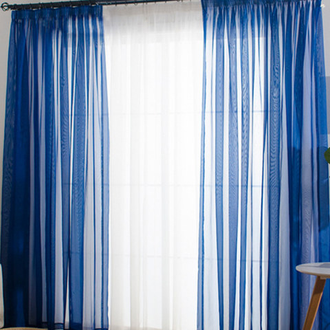 Smarties Navy Soft Sheer Voile Curtain 1