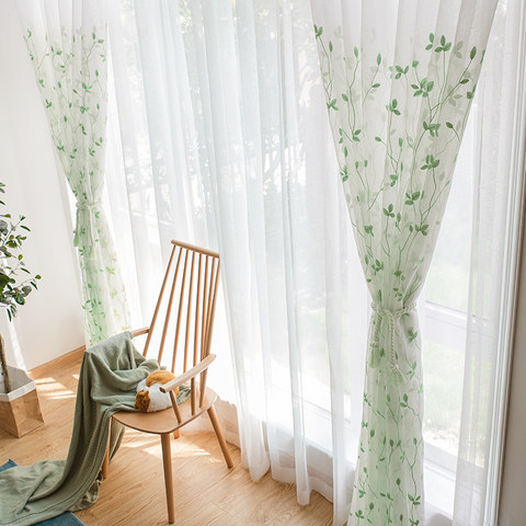 Love Fantasy Green Leaf Voile Curtain 1