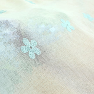 Sheer Curtain Touch Of Grace Embroidered Blue Flower Voile Curtain 7