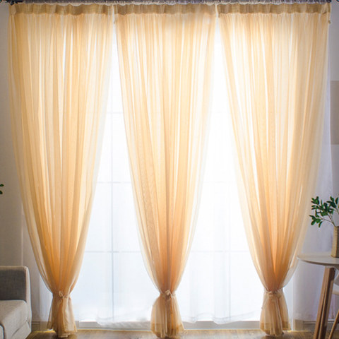 Smarties Champagne Yellow Soft Sheer Voile Curtain 1