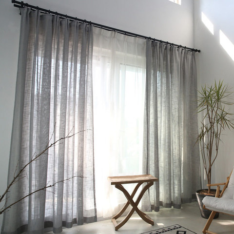 Sheer Curtain A touch of Sunshine Semi Sheer Grey Voile Curtain 6