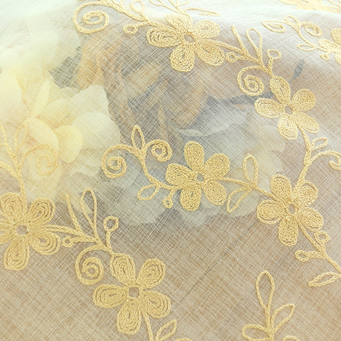 Sheer Curtain Touch Of Grace Embroidered beige Flower Voile Curtain 5