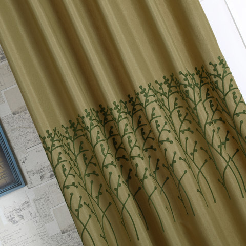 Trees of the Four Seasons Yellow Olive Green Curtain 1