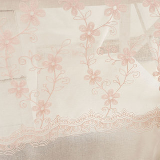 Touch Of Grace Embroidered Blush Pink Flower Voile Curtain 2
