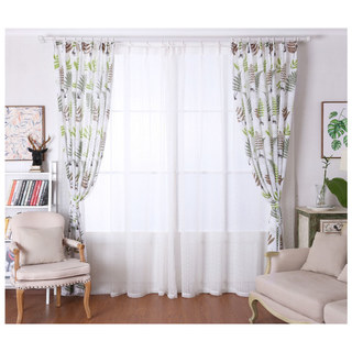 Lush Ferns Green Linen Voile Curtains 3