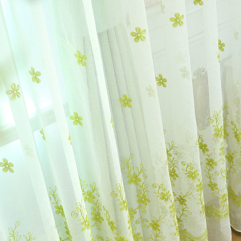Sheer Curtain Touch Of Grace Embroidered Lime Green Flower Voile Curtain 3