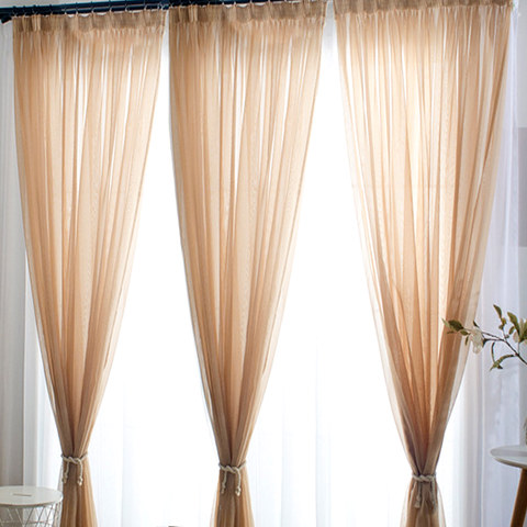 Smarties Sand Beige Soft Sheer Voile Curtain 1