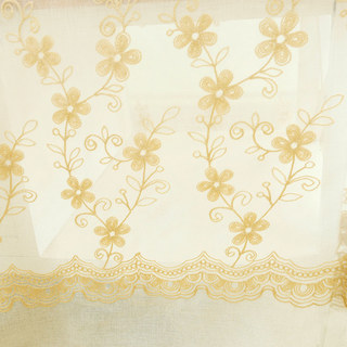 Sheer Curtain Touch Of Grace Embroidered beige Flower Voile Curtain 4