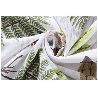 Lush Ferns Green Linen Voile Curtains 5