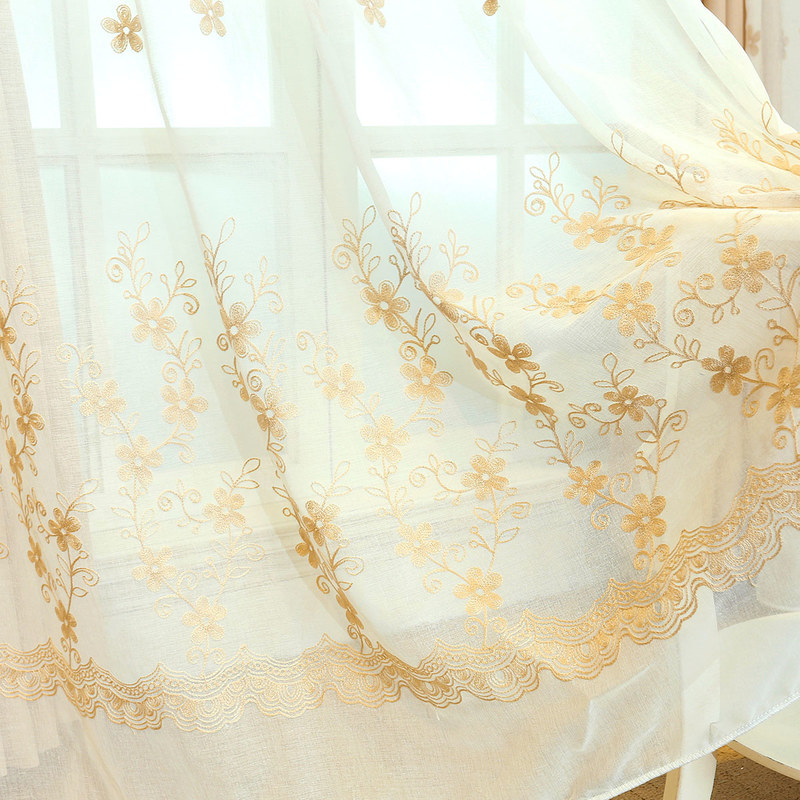 Touch Of Grace Embroidered Beige Flower Voile Curtain