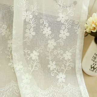 Touch Of Grace Embroidered White Flower Voile Curtain 3