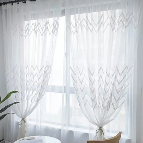 Wave Some Magic White Wave Geometric Voile Curtain 1