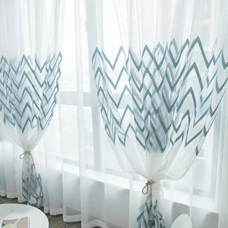 Sheer Curtain Wave Some Magic Blue Wave Geometric Voile Curtain 1