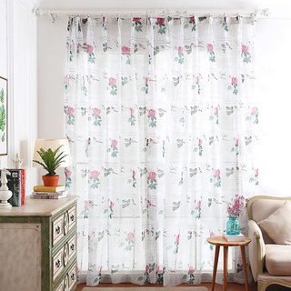 Misty Meadow Rose And Bird Ivory Sheer Voile Curtain 2